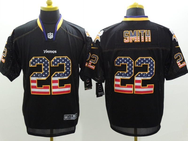 Minnesota Vikings 22 Smith 2014 New Nike USA Flag Fashion Black Elite Jerseys