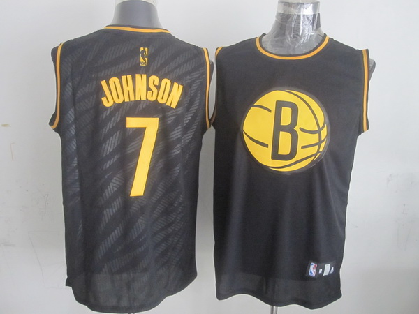 NBA Brooklyn Nets 7 Joe Johnson Black Precious Metals Fashion Swingman