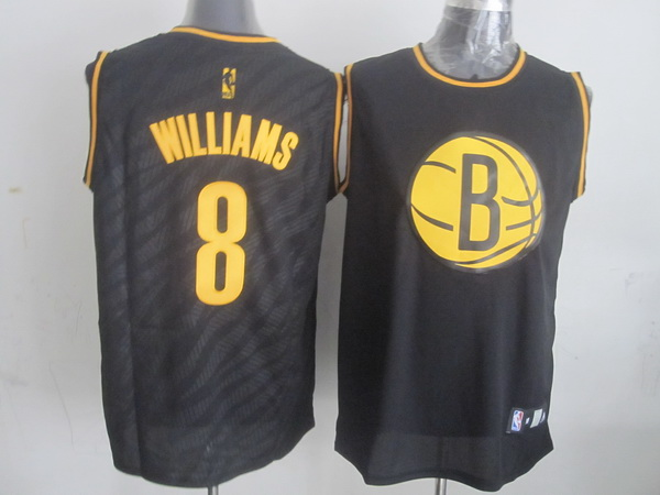 NBA Brooklyn Nets 8 Deron Williams Black Precious Metals Fashion Swingman