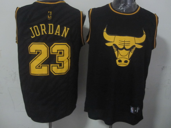 NBA Chicago Bulls 23 Michael Jordan Black Precious Metals Fashion Swingman