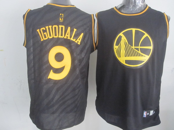 NBA Golden State Warriors 9 Andre Iguodala Black Precious Metals Fashion Swingman