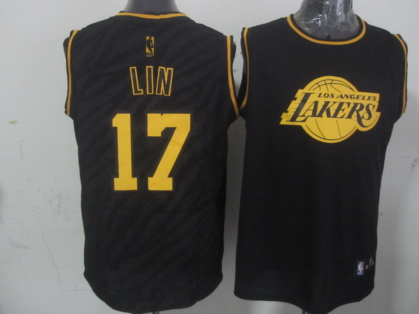 NBA Los Angeles Lakers 17 Jeremy Lin Black Precious Metals Fashion Swingman