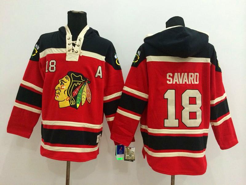NHL Chicago Blackhawks 18 Savard Red Pullover Hooded Sweatshirt