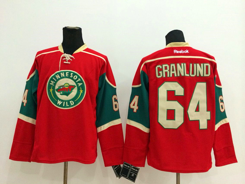 NHL Minnesota Wild 64 Mikael Granlund red 2014 Jerseys