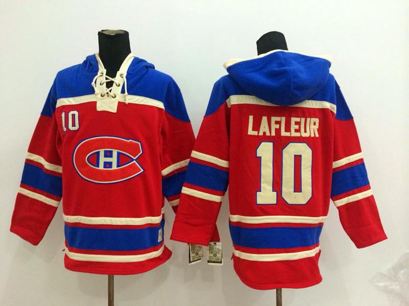 NHL Montreal Canadiens 10 Lafleur red Pullover Hooded Sweatshirt