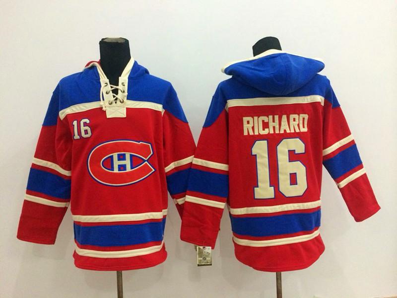 NHL Montreal Canadiens 16 Henri Richard Red Pullover Hooded Sweatshirt