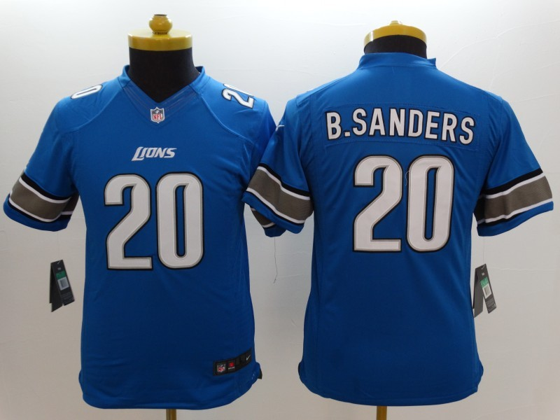 Youth Detroit Lions 20 B.Sanders Blue 2014 New Nike Limited Jerseys