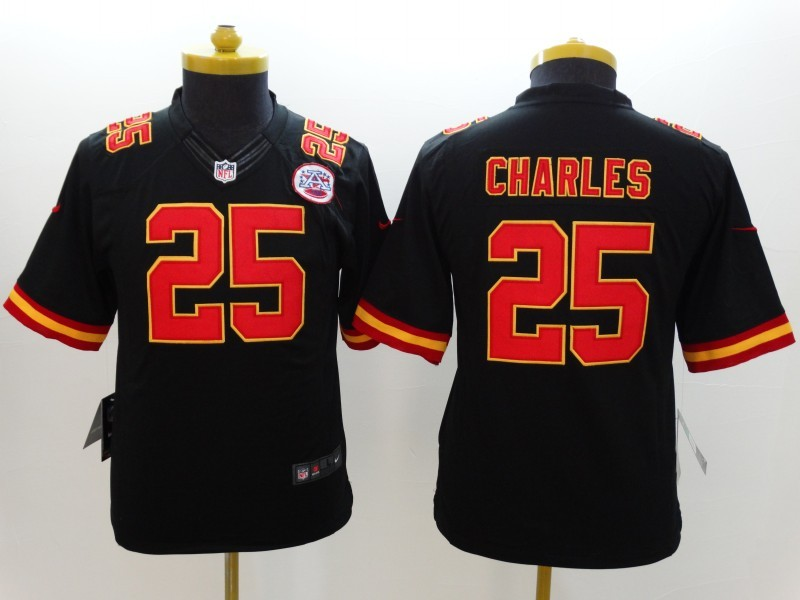 Youth Kansas City Chiefs 25 Jamaal Charles Black 2014 New Nike Limited Jerseys