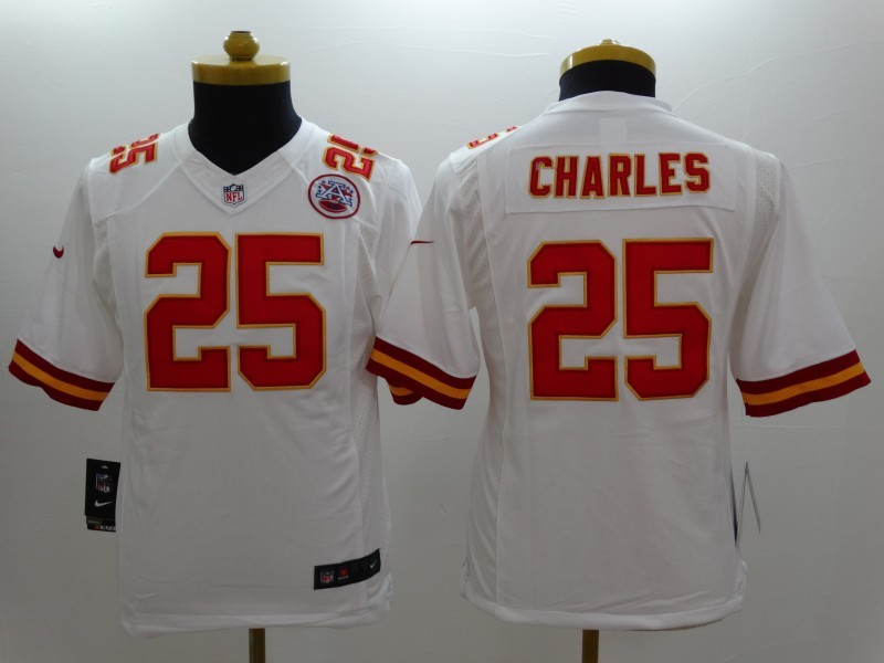 Youth Kansas City Chiefs 25 Jamaal Charles white 2014 New Nike Limited Jerseys
