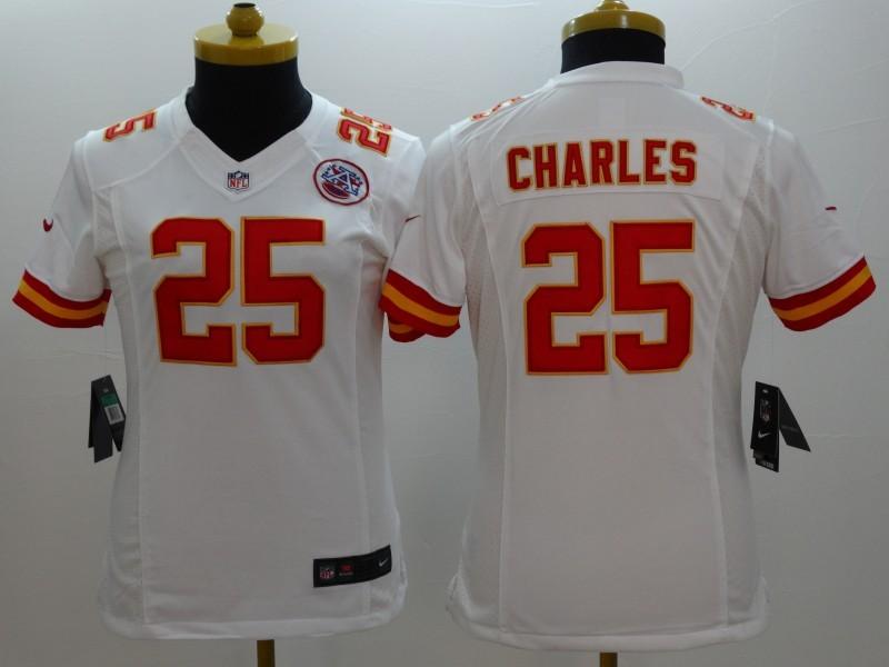 Womens Kansas City Chiefs 25 Jamaal Charles white 2014 New Nike Limited Jerseys
