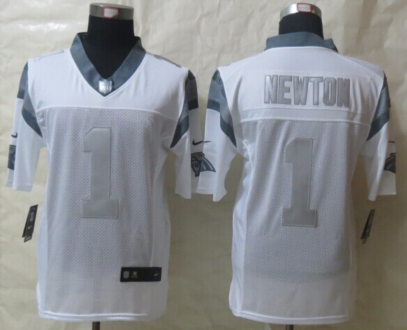 Carolina Panthers 1 Newton Platinum White 2014 New Nike Limited Jerseys
