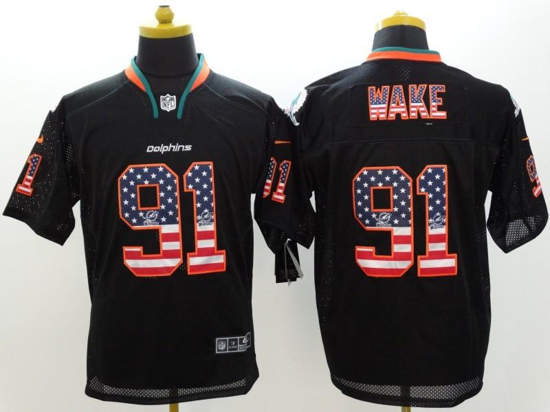 Miami Dolphins 91 Wake 2014 New Nike USA Flag Fashion Black Elite Jerseys