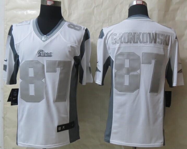New England Patriots 87 Gronkowski Platinum White 2014 New Nike Limited Jerseys