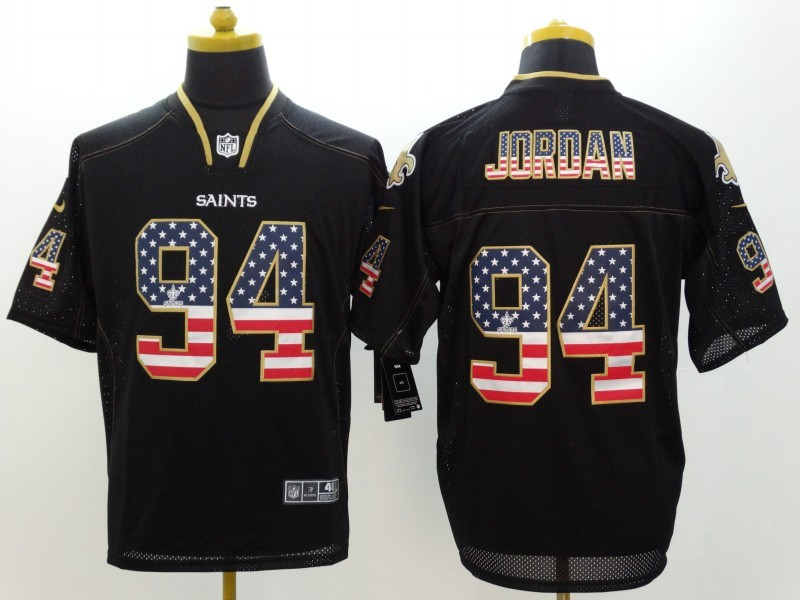 New Orleans Saints 94 Jordan 2014 New Nike USA Flag Fashion Black Elite Jerseys