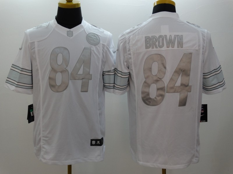 Pittsburgh Steelers 84 Antonio Brown Platinum White 2014 New Nike Limited Jerseys