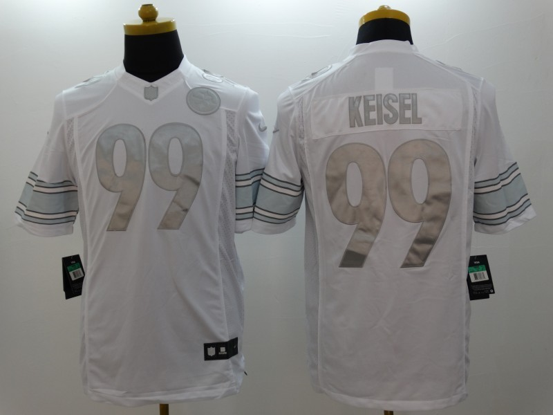Pittsburgh Steelers 99 Brett Keisel Platinum White 2014 New Nike Limited Jerseys