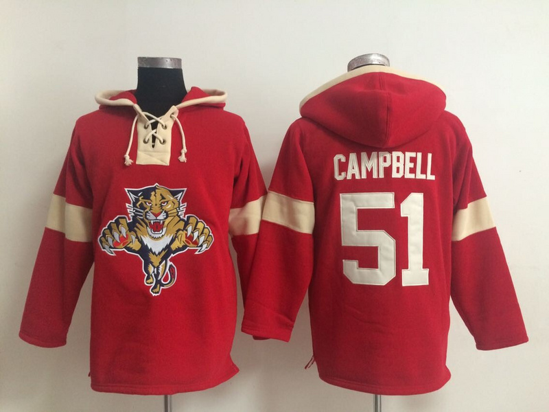 NHL Florida Panthers 51 Brian Campbell Red Pullover Hooded Sweatshirt