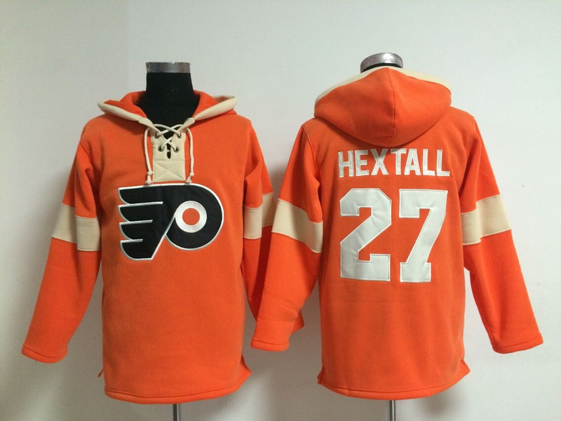 NHL Philadelphia Flyers 27 Hextall Orange Pullover Hooded Sweatshirt