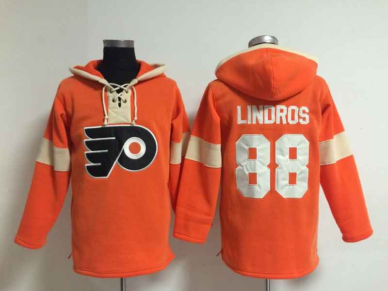 NHL Philadelphia Flyers 88 Lindros Orange Pullover Hooded Sweatshirt