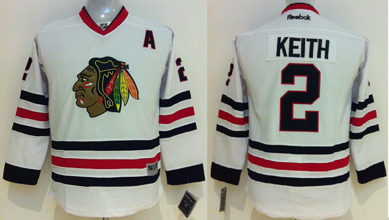 Youth NHL Chicago Blackhawks 2 Duncan Keith white 2014 Jerseys