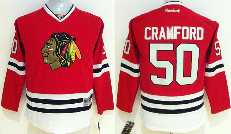 Youth NHL Chicago Blackhawks 50 Corey Crawford red 2014 Jerseys