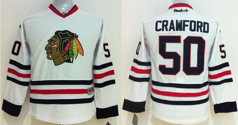 Youth NHL Chicago Blackhawks 50 Corey Crawford white 2014 Jerseys
