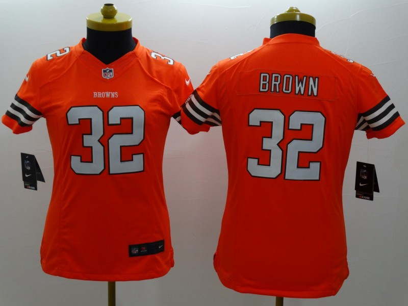 Womens Cleveland Browns 32 Brown Orange 2014 New Nike Limited Jerseys