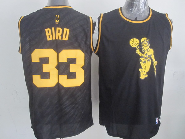 NBA Boston Celtics 33 Larry Bird Black Precious Metals Fashion Swingman