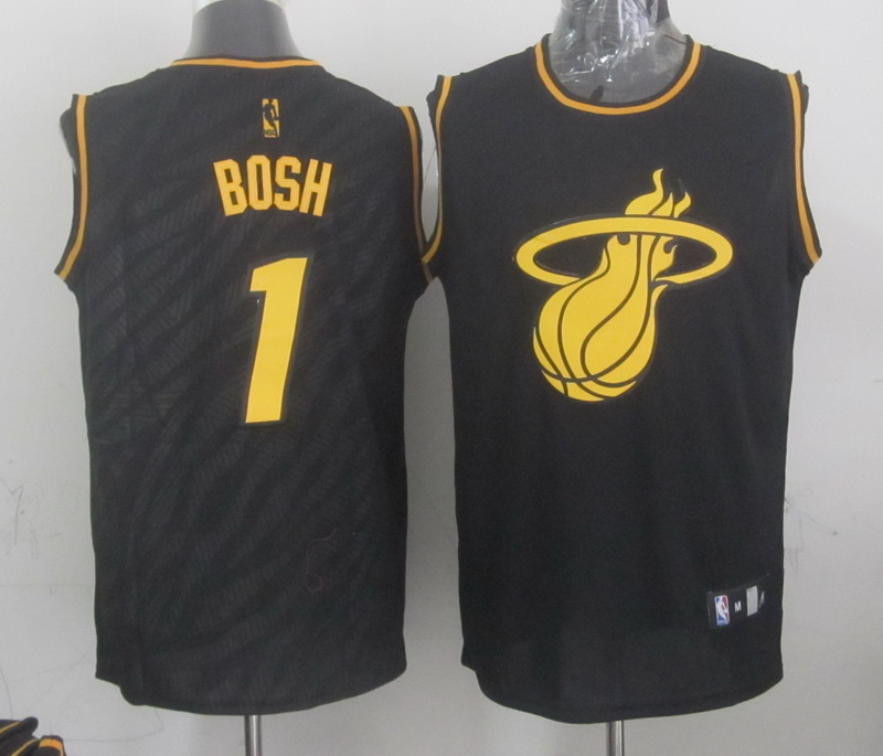 NBA Miami Heat 1 Chris Bosh Black Precious Metals Fashion Swingman