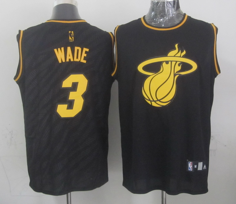 NBA Miami Heat 3 Dwyane Wade Black Precious Metals Fashion Swingman