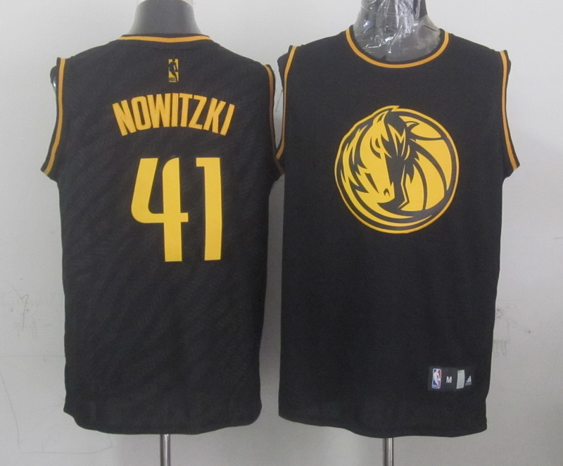 NBA Milwaukee Bucks 41 Nowitzki Black Precious Metals Fashion Swingman