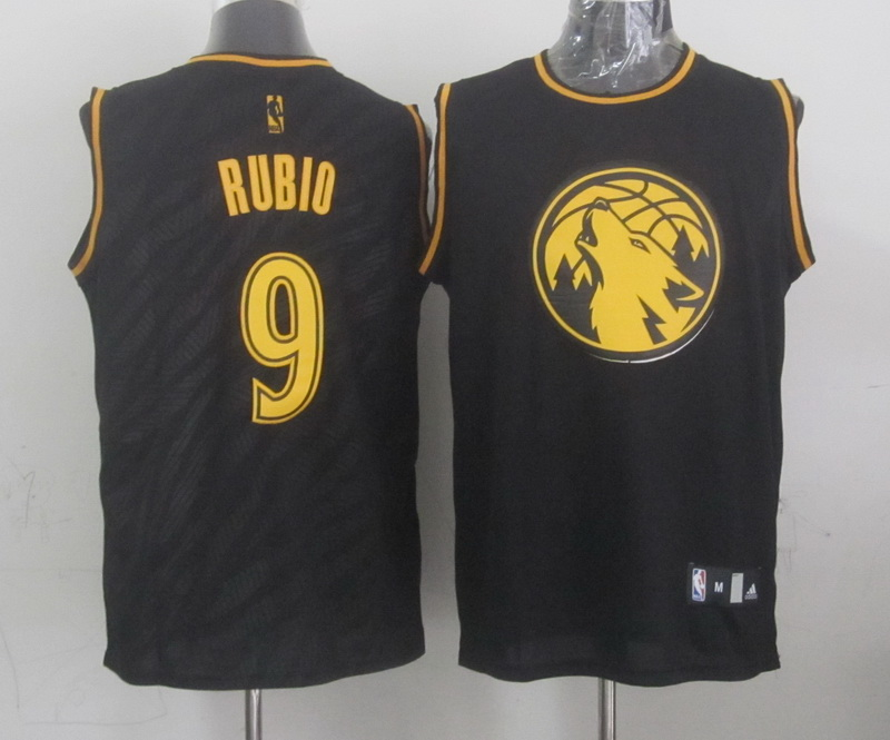 NBA Minnesota Timberwolves 9 Ricky Rubio Black Precious Metals Fashion Swingman