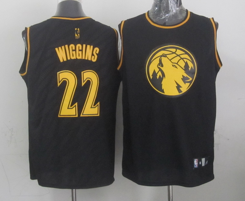 NBA Minnesota Timberwolves 22 Andrew Wiggins Black Precious Metals Fashion Swingman