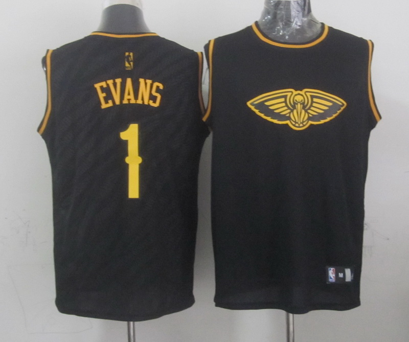 NBA New Orleans Hornets 1 Evans Black Precious Metals Fashion Swingman