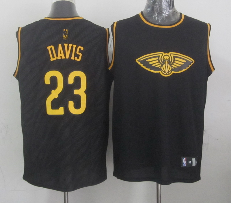 NBA New Orleans Hornets 23 Anthony Davis Black Precious Metals Fashion Swingman