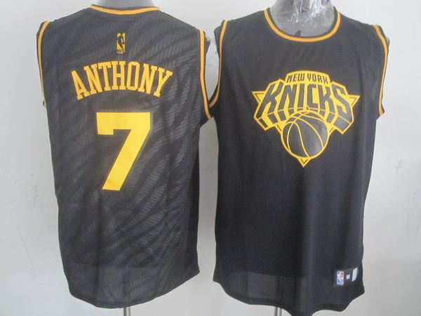 NBA New York Knicks 7 Carmelo Anthony Black Precious Metals Fashion Swingman