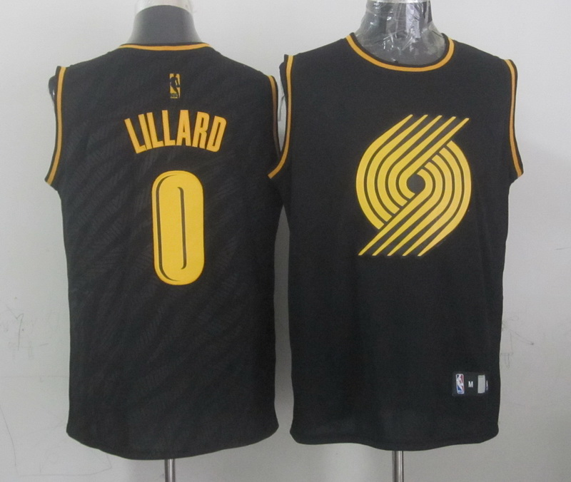 NBA Portland Trail Blazers 0 Damian Lillard Black Precious Metals Fashion Swingman