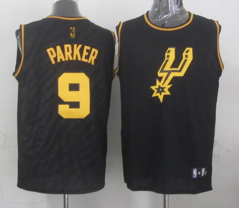 NBA San Antonio Spurs 9 Tony Parker Black Precious Metals Fashion Swingman
