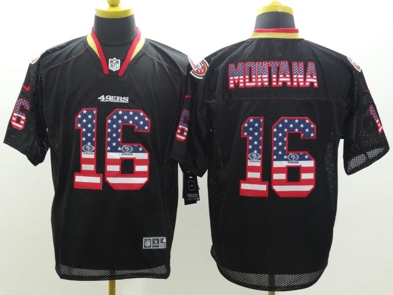 San Francisco 49ers 16 Montana 2014 New Nike USA Flag Fashion Black Elite Jerseys