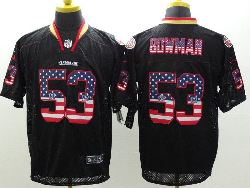 San Francisco 49ers 53 Bowman 2014 New Nike USA Flag Fashion Black Elite Jerseys