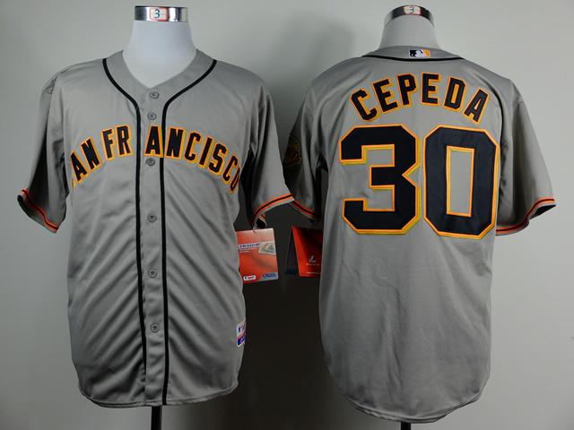 MLB San Francisco Giants 30 Orlando Cepeda Gray Throwback Jerseys