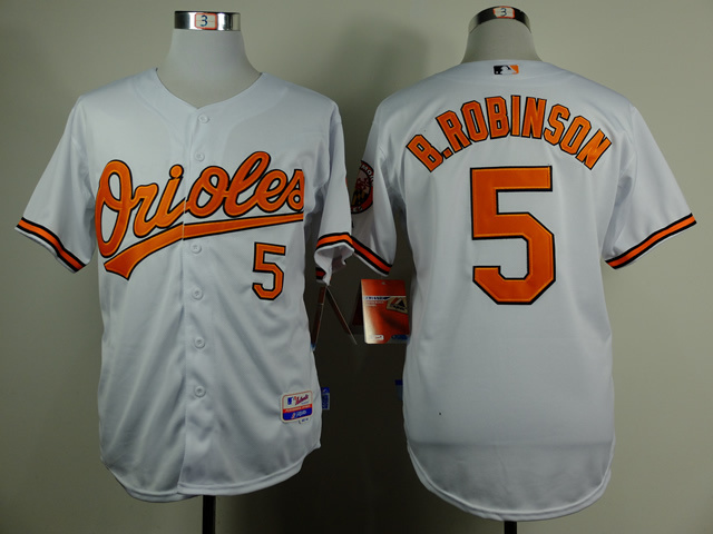 MLB Baltimore Orioles 5 Brooks Robinson White Throwback Jerseys