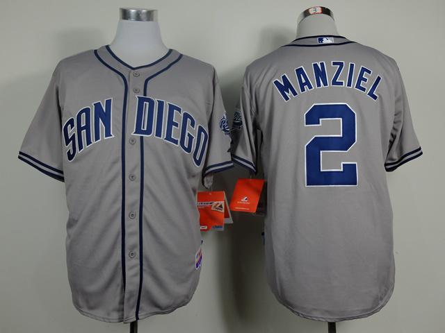 MLB San Diego Padres 2 Manziel Grey 2014 Jerseys
