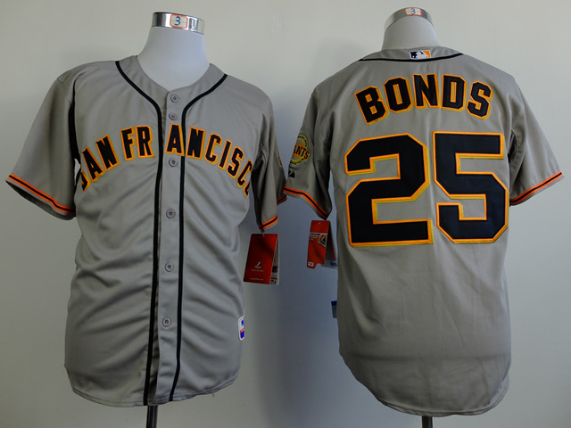 MLB San Francisco Giants 25 Barry Bonds Gray Throwback Jerseys