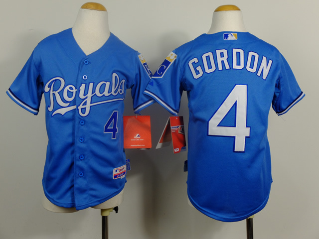 Youth MLB Kansas City Royals 4 Alex Gordon Light Blue 2014 Jerseys