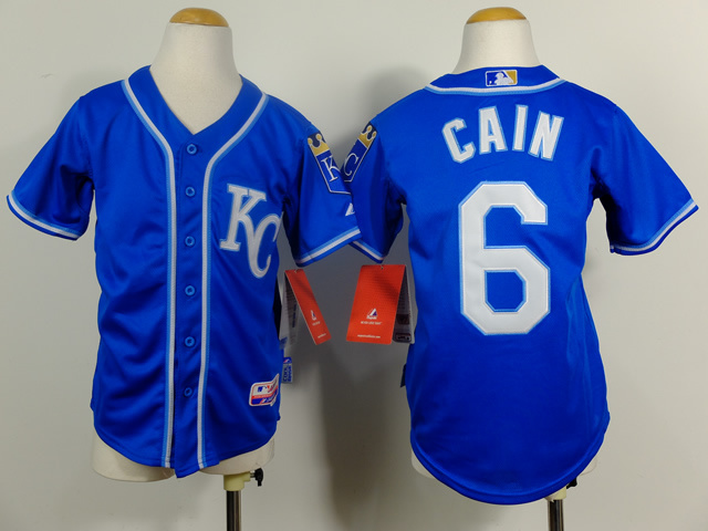 Youth MLB Kansas City Royals 6 Lorenzo Cain Navy Blue 2014 Jerseys