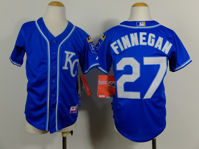 Youth MLB Kansas City Royals 27 Brandon Finnegan Navy Blue 2014 Jerseys