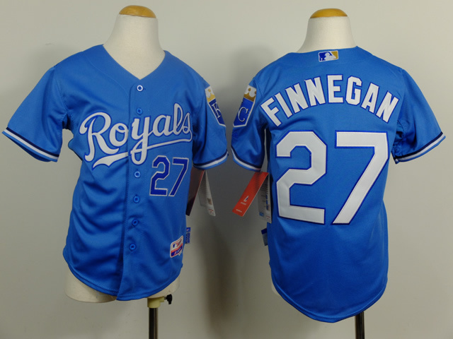Youth MLB Kansas City Royals 27 Finnegan Light Blue 2014 Jerseys