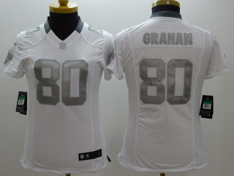 Womens New Orleans Saints 80 Graham Platinum White NFL 2014 New Nike Limited Jerseys