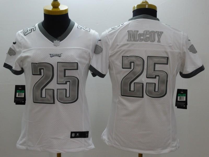 Womens Philadelphia Eagle 25 McCoy Platinum White NFL 2014 New Nike Limited Jerseys